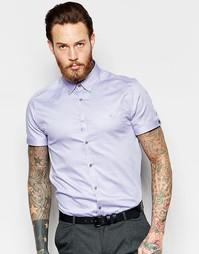 Оксфордская рубашка зауженного кроя с короткими рукавами Ted Baker - Синий