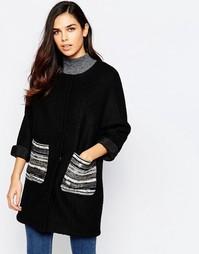 Пальто с отделкой металлик на карманах Jovonna Assis - Черный