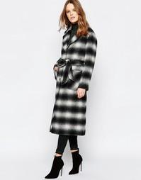 Пальто на пуговицах в шотландскую клетку с поясом Helene Berman - Черный