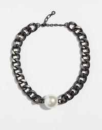 Ожерелье с покрытием из гематита с искусственным жемчугом Pilgrim - Серебряный