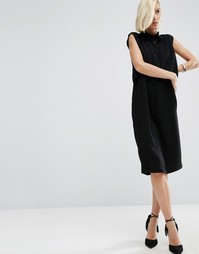 Двухслойное креповое платье-рубашка миди ASOS WHITE - Черный