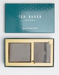 Подарочный набор из кожаных бумажника и кошелька для карт Ted Baker - Коричневый