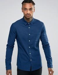 Темная джинсовая рубашка суперузкого кроя ASOS - Темно-синий