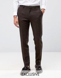 Зауженные брюки из 100% английской шерсти Heart and Dagger - Коричневый