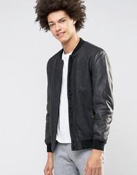 Шерстяная куртка-пилот с кожаными рукавами Selected Homme Premium - Серый