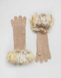 Вязаные перчатки с узором Alice Hannah - Серый