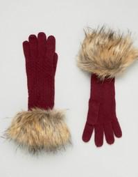 Вязаные перчатки с узором Alice Hannah - Красный