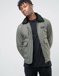Куртка-пилот с воротником из искусственного меха Nicce London MA1 - Зеленый