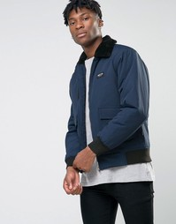 Куртка-пилот с воротником из искусственного меха Nicce London MA1 - Темно-синий