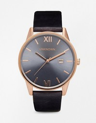 Часы на синем кожаном ремешке с деталями под розовое золото UNKNOWN - Синий
