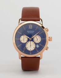 Часы с коричневым кожаным ремешком и синим циферблатом Sekonda эксклюзивно для ASOS - Черный