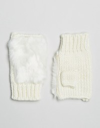 Перчатки без пальцев из искусственного меха 7X - Белый