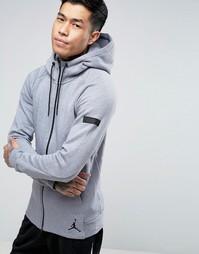Серое худи на молнии Nike Jordan Icon 809470-065 - Серый