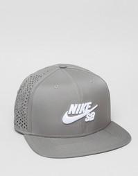 Серая бейсболка с перфорацией Nike SB 629243-003 - Серый