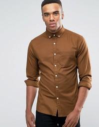 Оксфордская облегающая рубашка табачного цвета ASOS - Коричневый