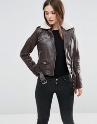 Куртка-пилот из искусственной кожи Barneys Originals - Коричневый