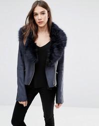 Куртка из искусственной цигейки с воротником из искусственного меха Barneys Originals - Черный