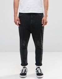 Черные рваные джинсы с заниженным шаговым швом ASOS - Черный