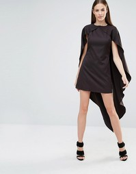 Цельнокройное платье макси с кейпом Lavish Alice - Черный