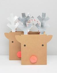 Подарочные пакеты с оленями среднего размера Meri Meri - Мульти