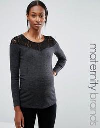 Топ для беременных с кружевной отделкой Mamalicious - Серый Mama.Licious