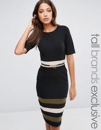 Платье-футляр с рукавами 1/2, поясом и полосками на юбке Paper Dolls Tall - Черный