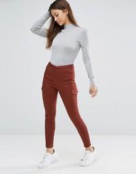 Стретчевые зауженные брюки с накладными карманами ASOS - Коричневый