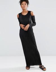 Платье макси с длинными рукавами и открытыми плечами Liquorish - Черный
