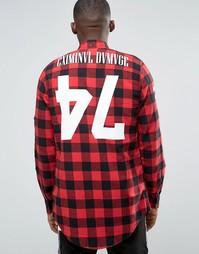 Длинная рубашка в клетку с принтом на спине Criminal Damage - Красный