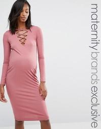 Платье миди в рубчик со шнуровкой для беременных Missguided Maternity - Фиолетовый