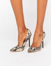 Туфли-лодочки с отделкой под кожу змеи Public Desire Josie - Серый