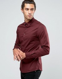 Бордовая рубашка скинни с принтом пейсли ASOS - Красный