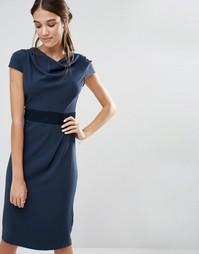 Платье с контрастной вставкой на талии и свободной горловиной Closet - Синий