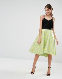 Жаккардовая юбка миди с асимметричной кромкой ограниченной серии Closet - Желтый