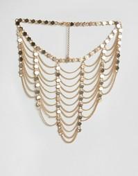 Многорядное ожерелье из драпированных цепочек Ashiana - Золотой