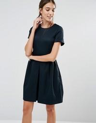 Платье с юбкой в складку спереди ASOS - Синий Closet London