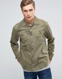 Зеленая рубашка навыпуск в стиле милитари с отложным воротником ASOS - Зеленый
