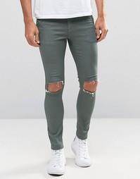 Зауженные джинсы с прорехами Illusive London - Зеленый