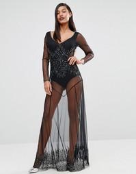 Полупрозрачное платье макси Boohoo Boutique - Черный
