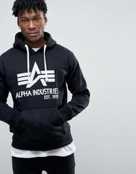 Черное худи с крупным логотипом Alpha Industries - Черный