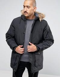 Парка с 4 карманами и искусственным мехом на капюшоне Threadbare - Черный