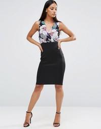 Облегающее платье с цветочным принтом AX Paris - Черный
