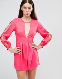 Ромпер с V‑образным вырезом и разрезами на рукавах AX Paris - Розовый