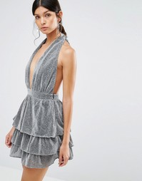 Платье-халтер с многоярусной юбкой Love & Other - Серый