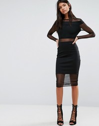 Платье с сетчатыми вставками Twin Sister - Черный