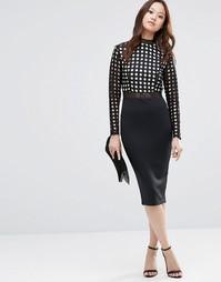 Облегающее платье миди с кружевными рукавами Girl In Mind Halle - Черный