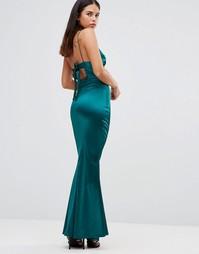 Атласное платье макси с тонкими бретельками и завязкой сзади Club L - Зеленый