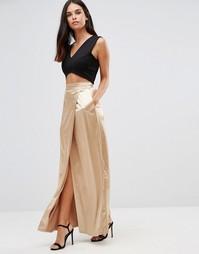 Сатиновая юбка макси Twin Sister - Золотой
