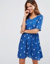 Платье с поясом и принтом балерины Lavand - Синий