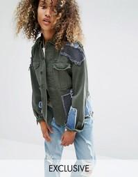 Куртка в стиле милитари с декоративными джинсовыми заплатами Milk It Vintage - Зеленый
